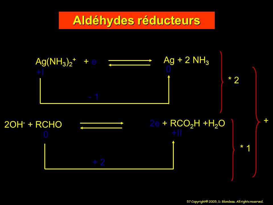 Aldéhydes réducteurs Ag + 2 NH3 Ag(NH3)2+ + e +I * 2 - 1 +