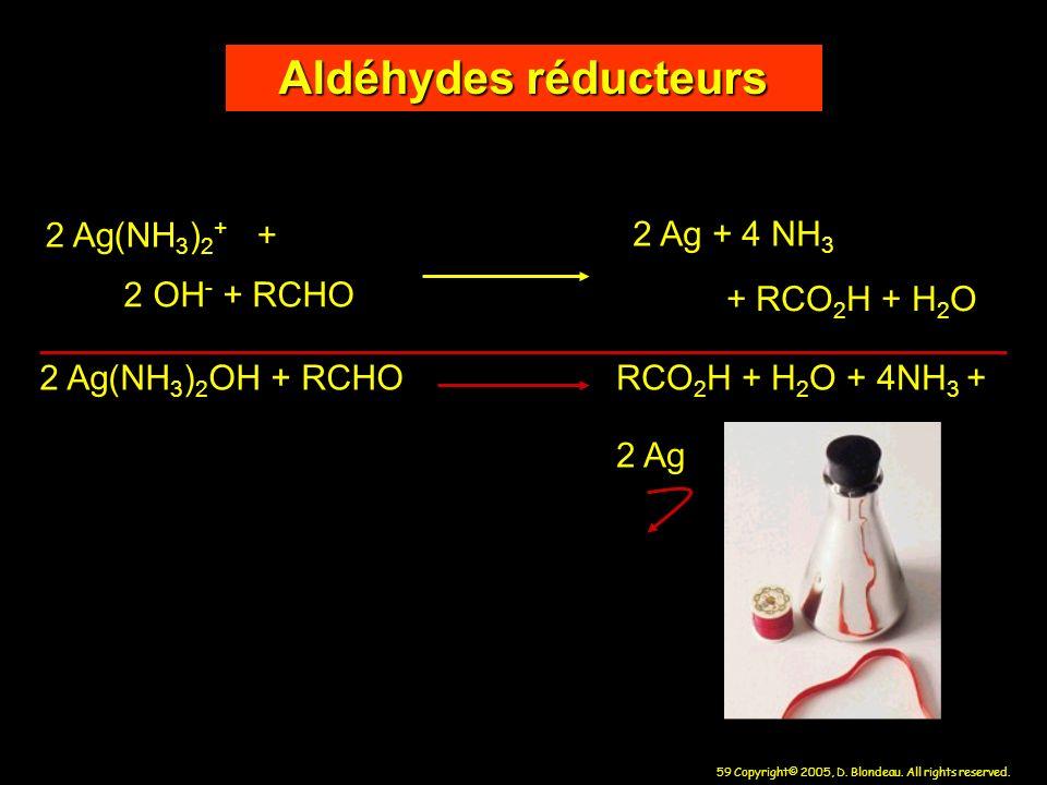 Aldéhydes réducteurs 2 Ag(NH3)2+ + 2 Ag + 4 NH3 2 OH- + RCHO