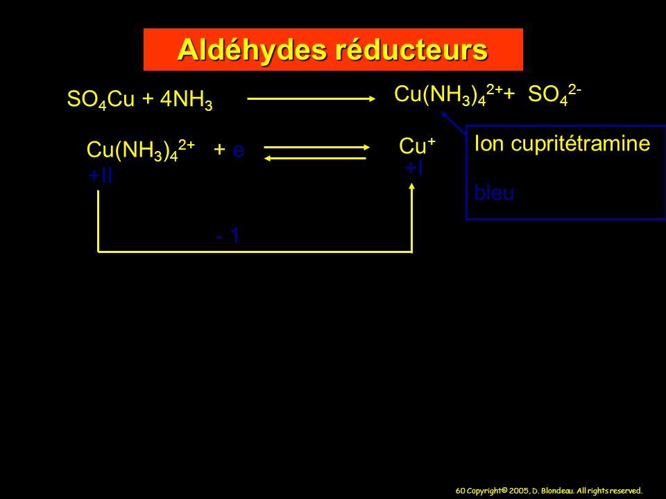 Aldéhydes réducteurs Cu(NH3)42++ SO42- SO4Cu + 4NH3 Ion cupritétramine