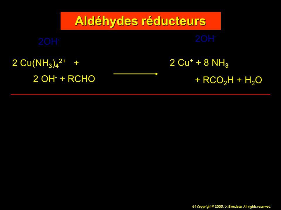 Aldéhydes réducteurs 2OH- 2OH- 2 Cu(NH3)42+ + 2 Cu+ + 8 NH3