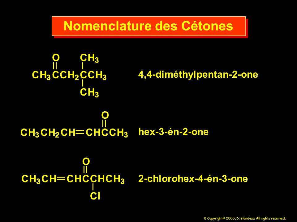 Nomenclature des Cétones