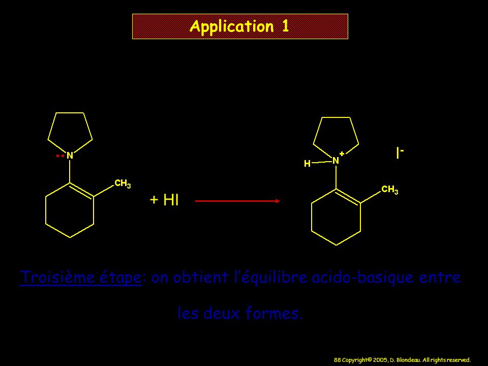 Troisième étape: on obtient l'équilibre acido-basique entre