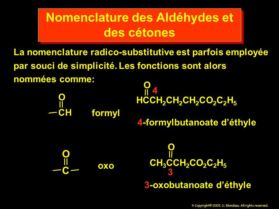 Nomenclature des Aldéhydes et des cétones