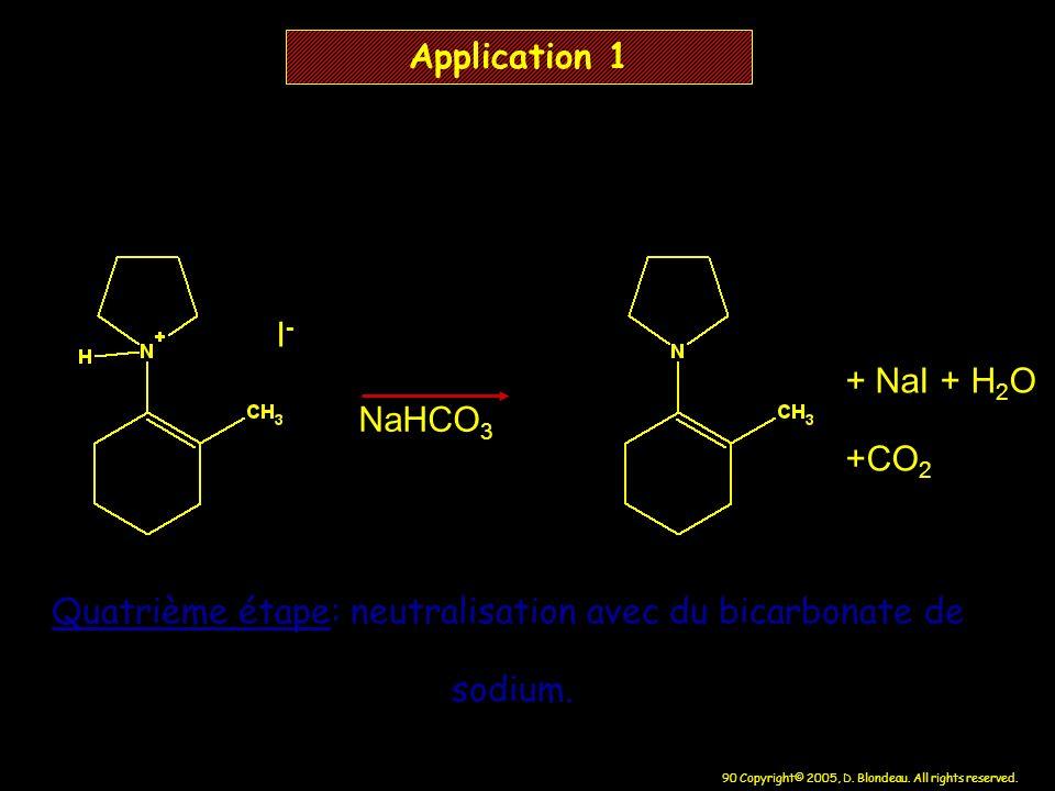 Quatrième étape: neutralisation avec du bicarbonate de