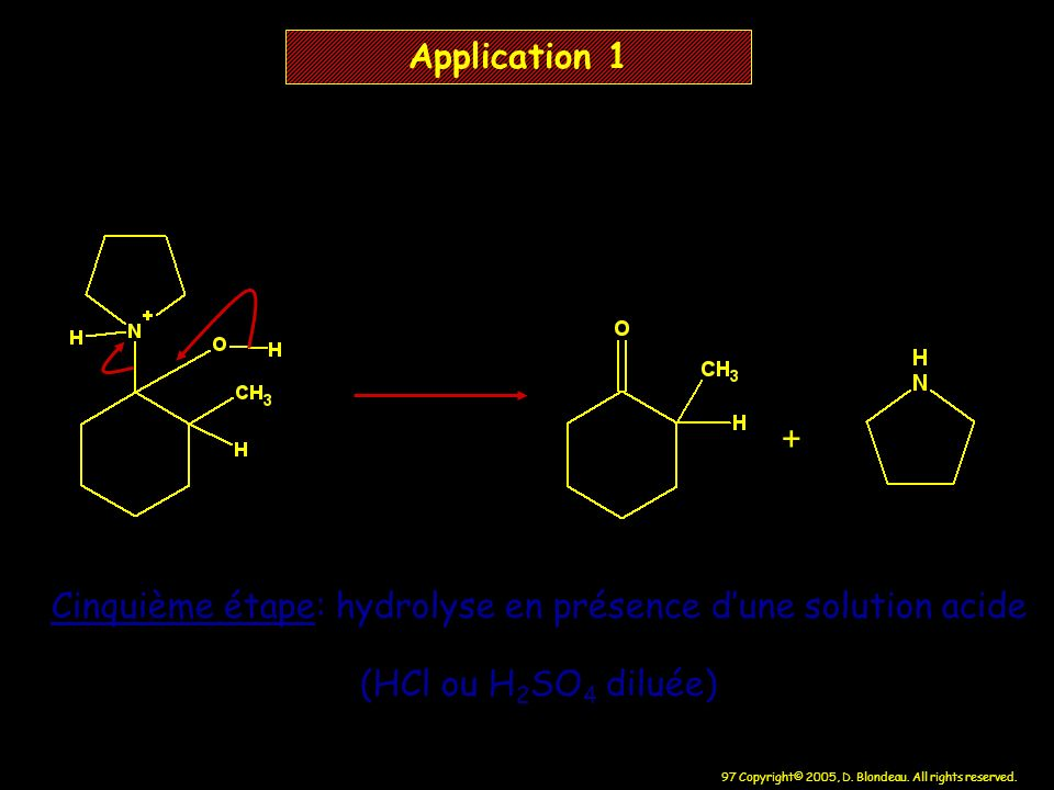 Cinquième étape: hydrolyse en présence d'une solution acide