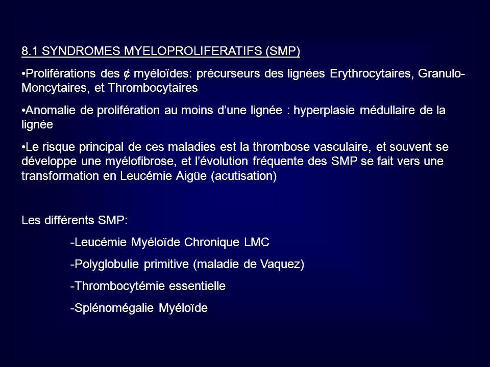 8.1 SYNDROMES MYELOPROLIFERATIFS (SMP)