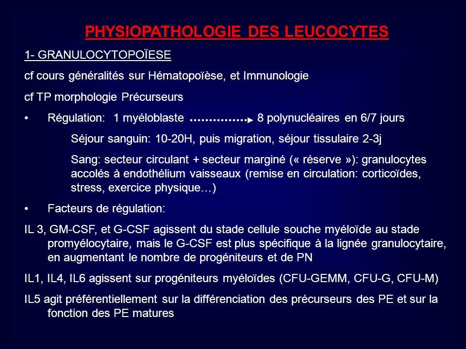 PHYSIOPATHOLOGIE DES LEUCOCYTES