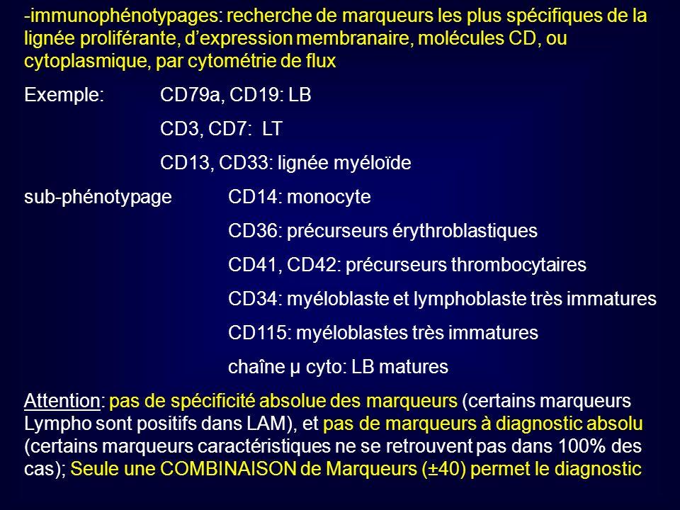 -immunophénotypages: recherche de marqueurs les plus spécifiques de la lignée proliférante, d'expression membranaire, molécules CD, ou cytoplasmique, par cytométrie de flux