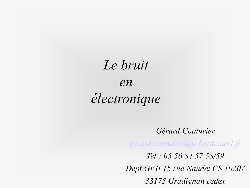 Le bruit en électronique