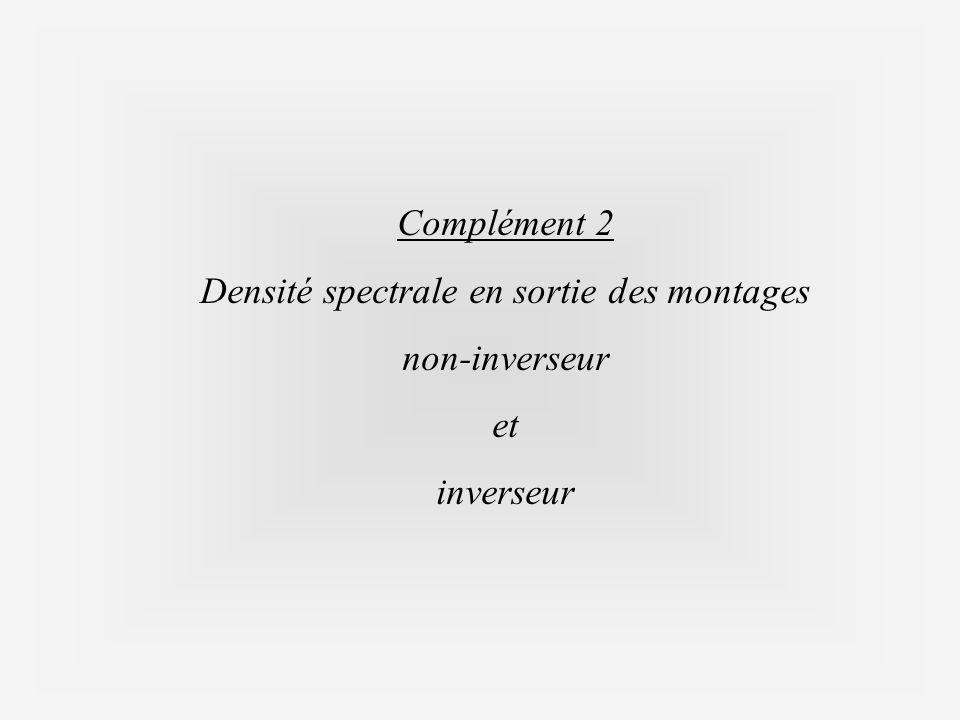 Complément 2 Densité spectrale en sortie des montages non-inverseur et inverseur