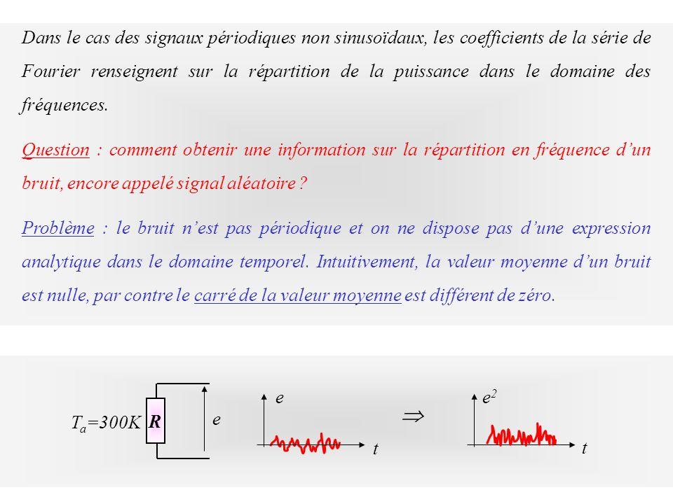 Dans le cas des signaux périodiques non sinusoïdaux, les coefficients de la série de Fourier renseignent sur la répartition de la puissance dans le domaine des fréquences.