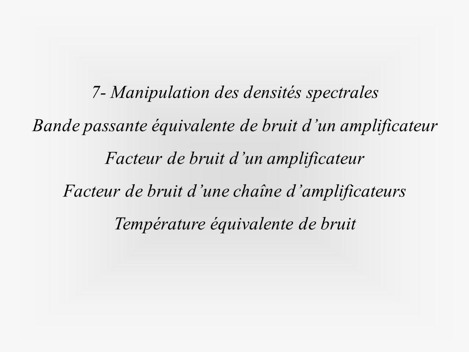 7- Manipulation des densités spectrales Bande passante équivalente de bruit d'un amplificateur Facteur de bruit d'un amplificateur Facteur de bruit d'une chaîne d'amplificateurs Température équivalente de bruit