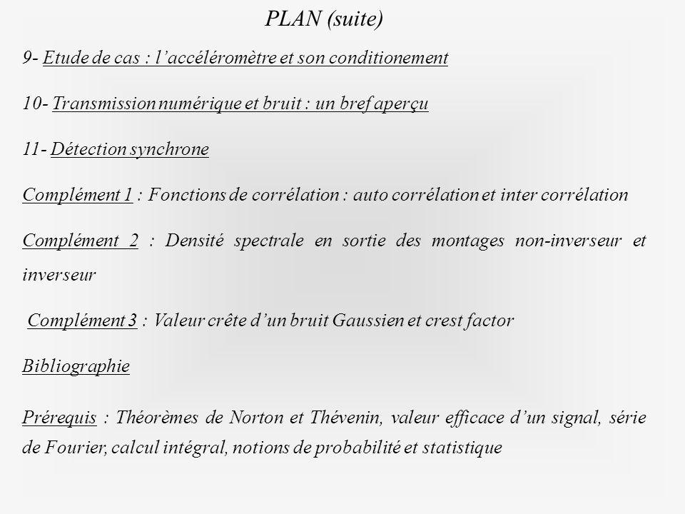 PLAN (suite) 9- Etude de cas : l'accéléromètre et son conditionement