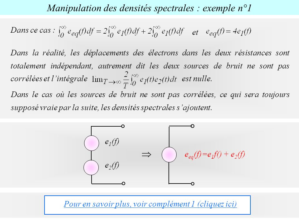 Manipulation des densités spectrales : exemple n°1