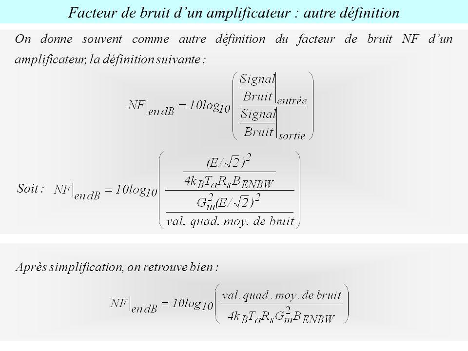Facteur de bruit d'un amplificateur : autre définition