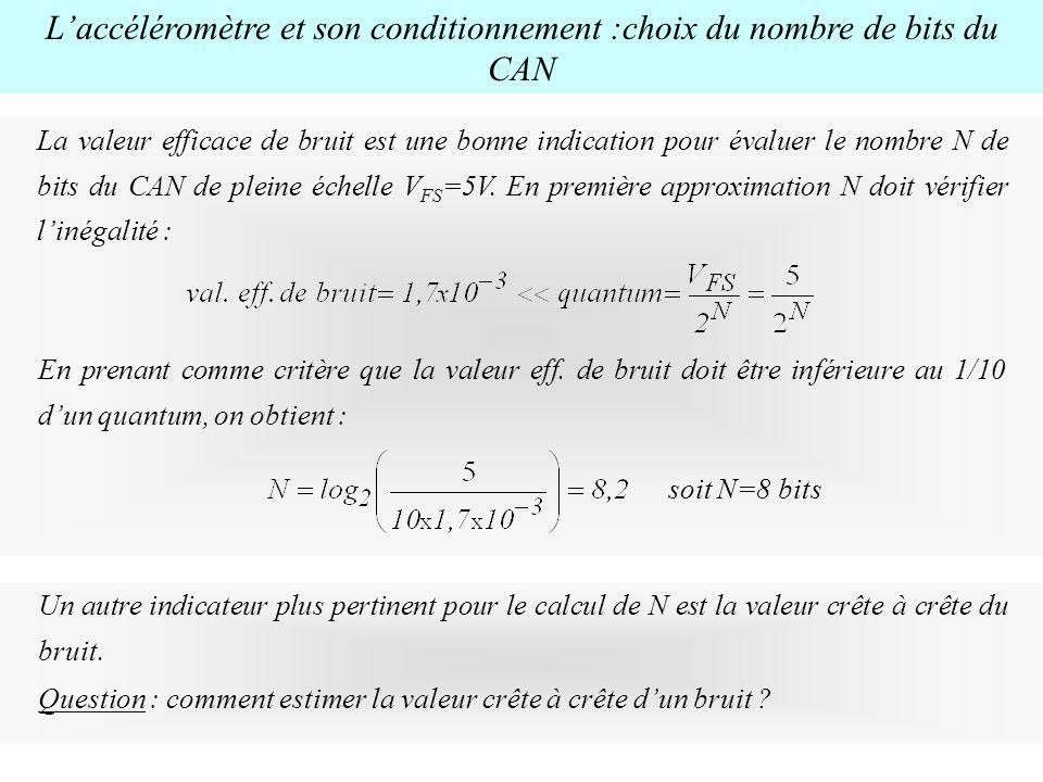 L'accéléromètre et son conditionnement :choix du nombre de bits du CAN