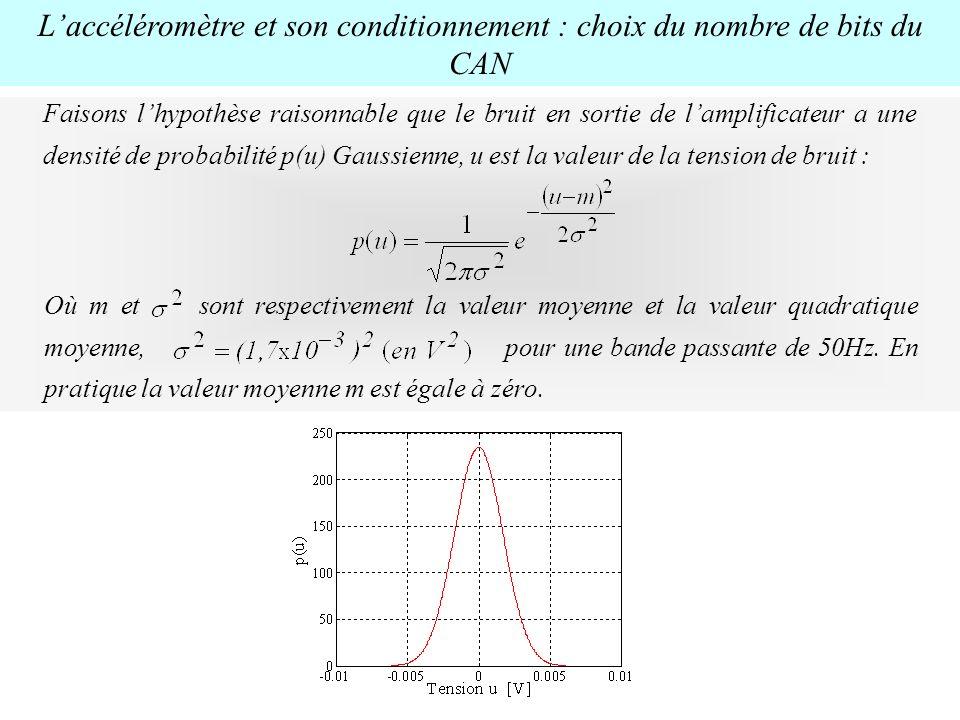 L'accéléromètre et son conditionnement : choix du nombre de bits du CAN