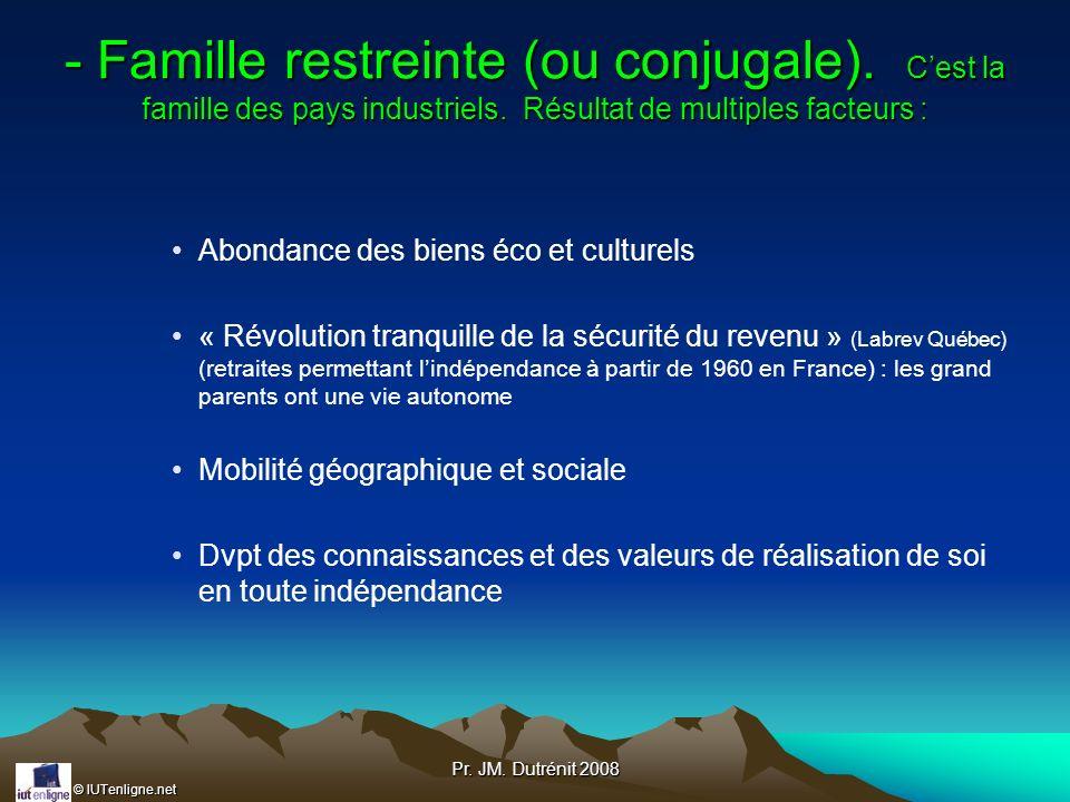 - Famille restreinte (ou conjugale)
