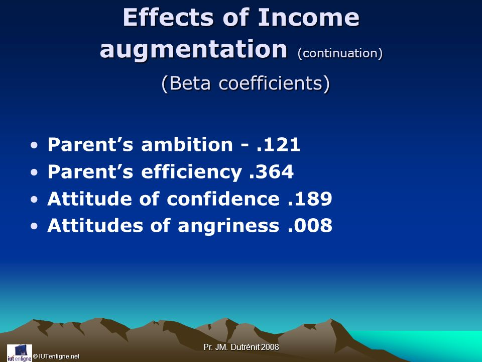 Effects of Income augmentation (continuation) (Beta coefficients)