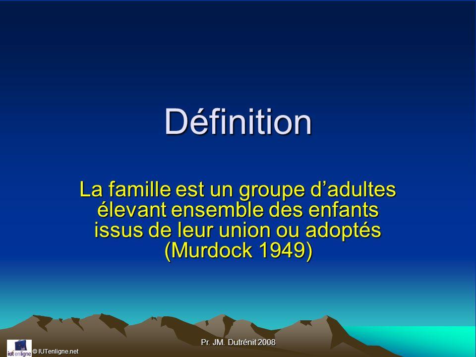 Définition La famille est un groupe d'adultes élevant ensemble des enfants issus de leur union ou adoptés (Murdock 1949)