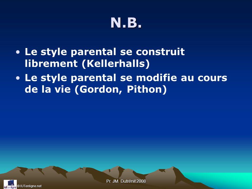 N.B. Le style parental se construit librement (Kellerhalls)