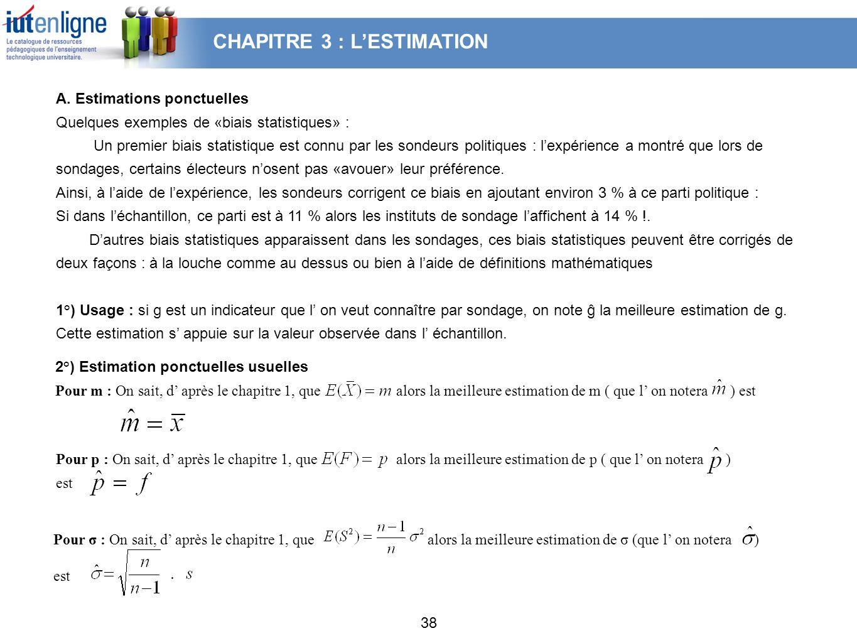 CHAPITRE 3 : L'ESTIMATION