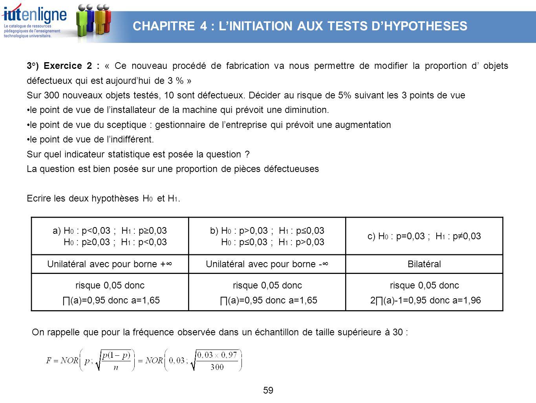 CHAPITRE 4 : L'INITIATION AUX TESTS D'HYPOTHESES