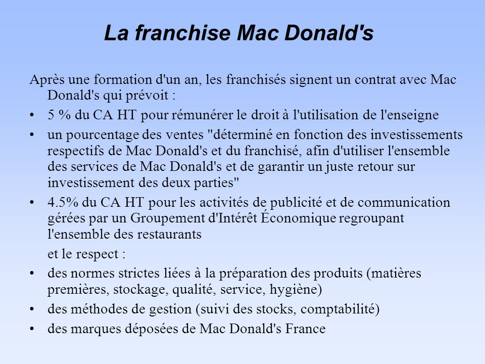 La franchise Mac Donald s