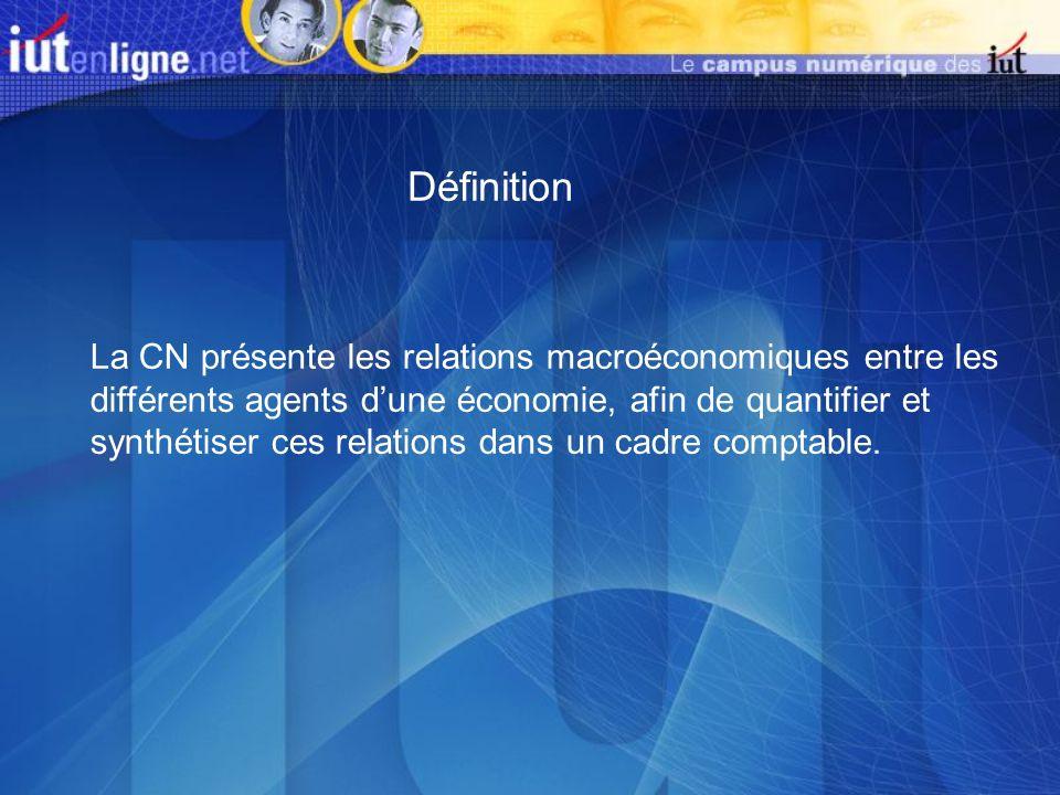 Définition La CN présente les relations macroéconomiques entre les