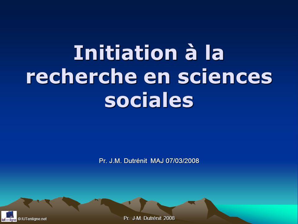 Initiation à la recherche en sciences sociales