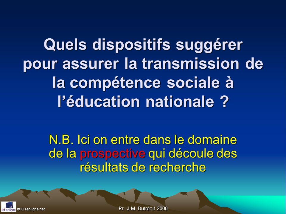 Quels dispositifs suggérer pour assurer la transmission de la compétence sociale à l'éducation nationale