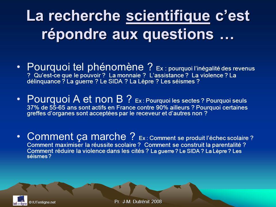 La recherche scientifique c'est répondre aux questions …