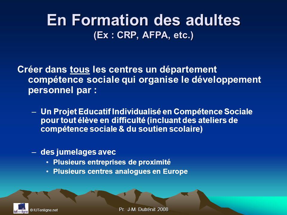 En Formation des adultes (Ex : CRP, AFPA, etc.)