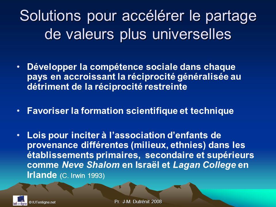 Solutions pour accélérer le partage de valeurs plus universelles