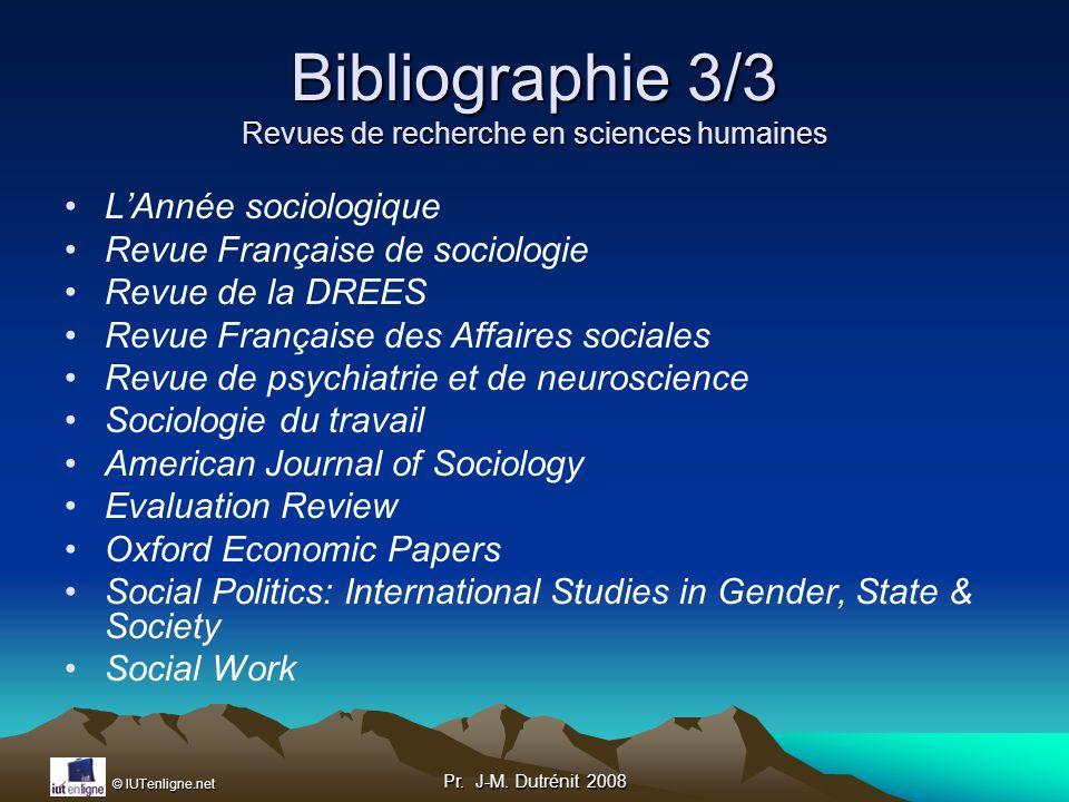 Bibliographie 3/3 Revues de recherche en sciences humaines
