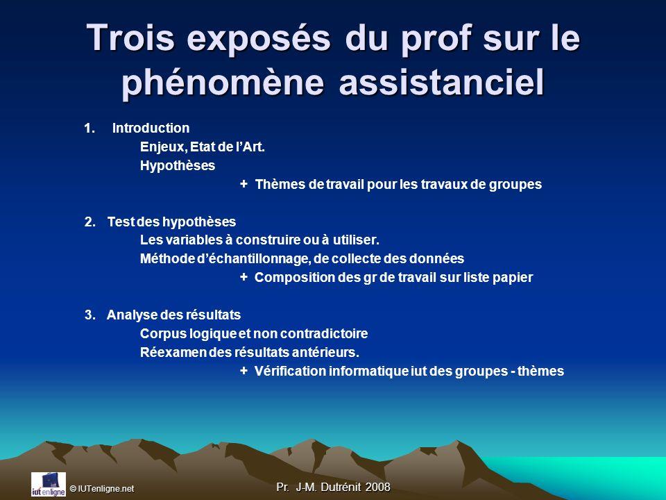 Trois exposés du prof sur le phénomène assistanciel