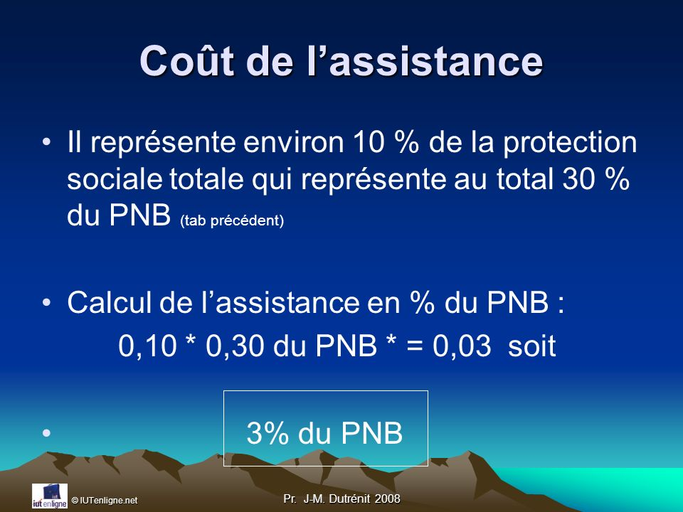 Coût de l'assistance Il représente environ 10 % de la protection sociale totale qui représente au total 30 % du PNB (tab précédent)