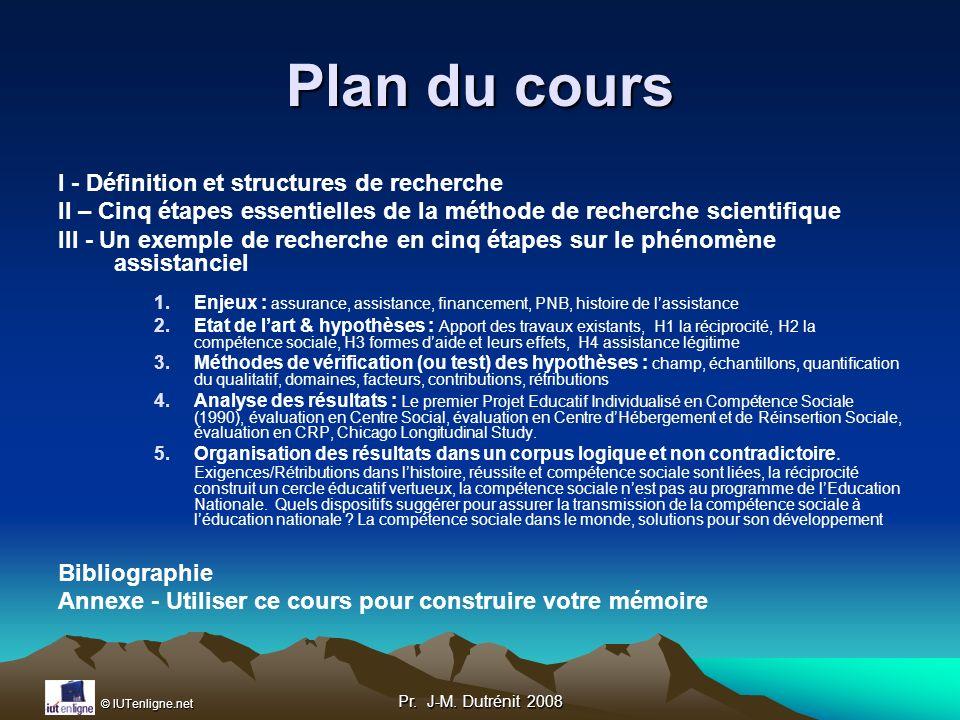 Plan du cours I - Définition et structures de recherche