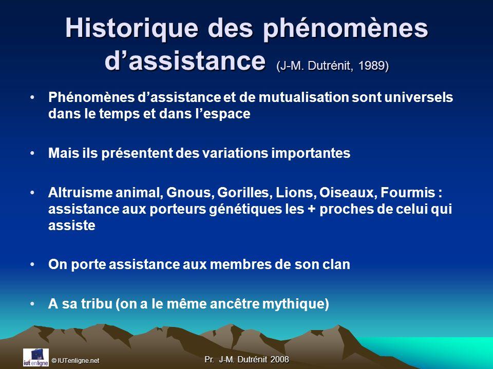 Historique des phénomènes d'assistance (J-M. Dutrénit, 1989)
