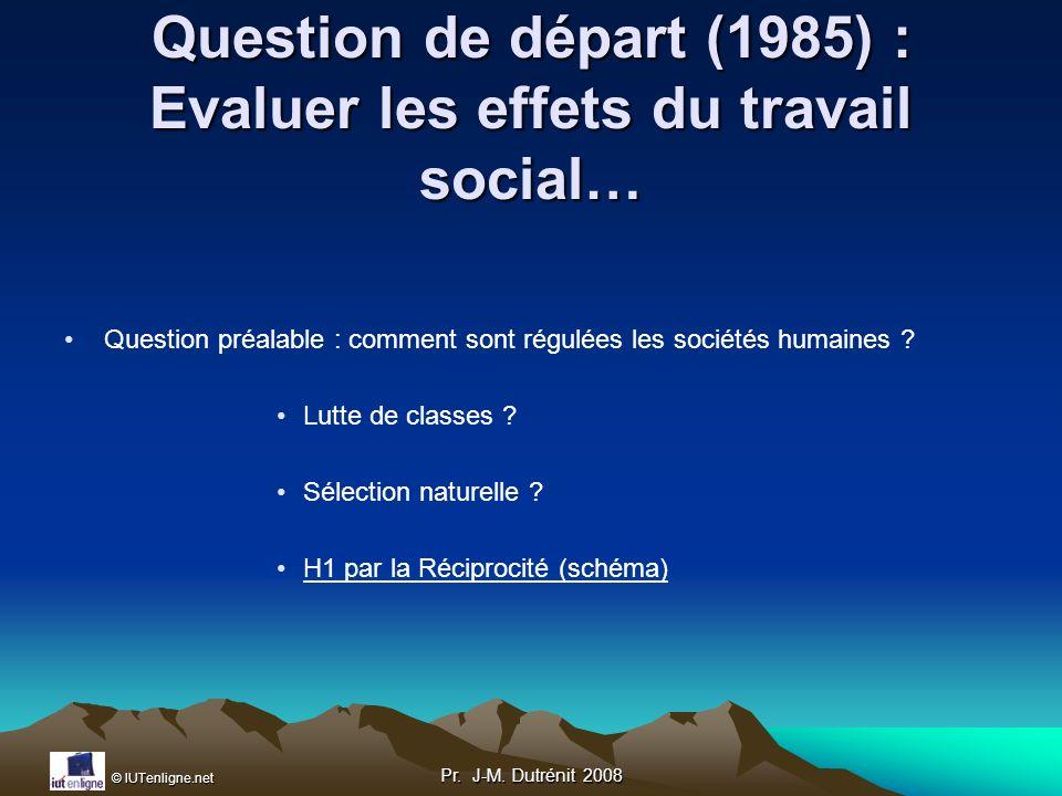 Question de départ (1985) : Evaluer les effets du travail social…