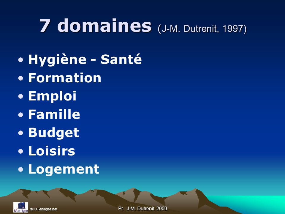 7 domaines (J-M. Dutrenit, 1997)
