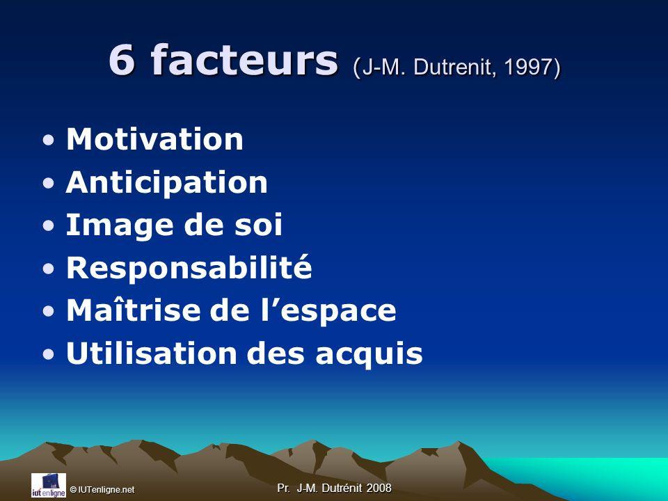6 facteurs (J-M. Dutrenit, 1997)