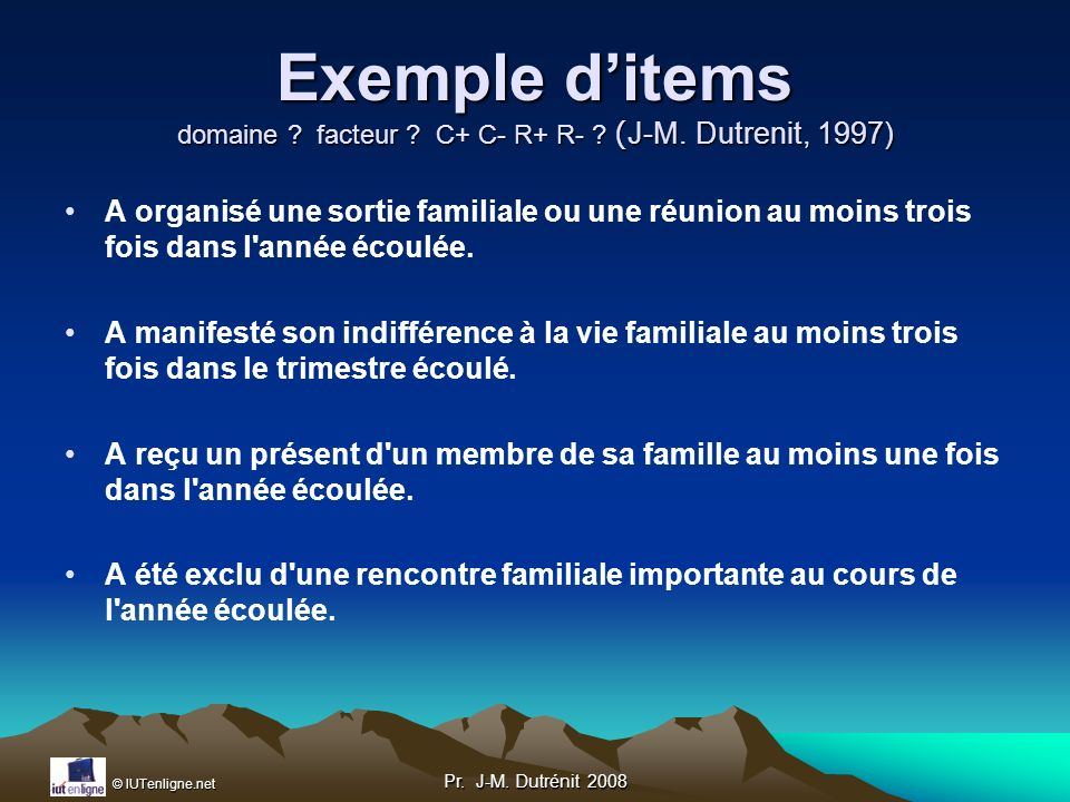 Exemple d'items domaine facteur C+ C- R+ R- (J-M. Dutrenit, 1997)