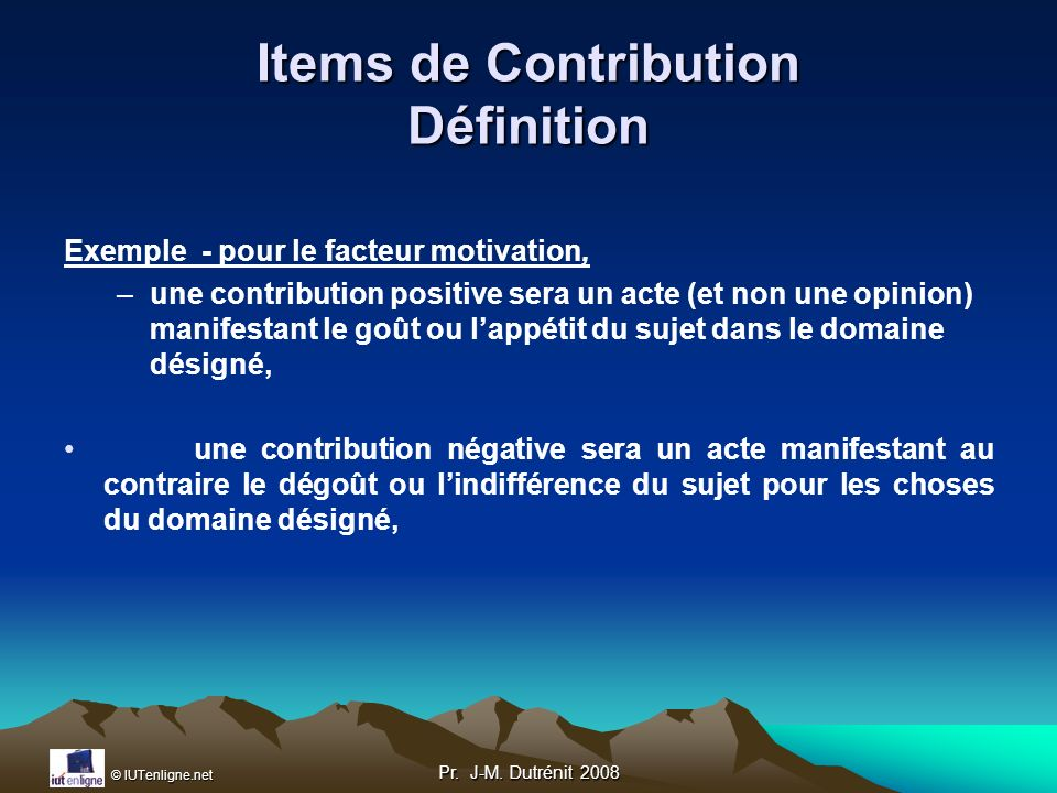 Items de Contribution Définition