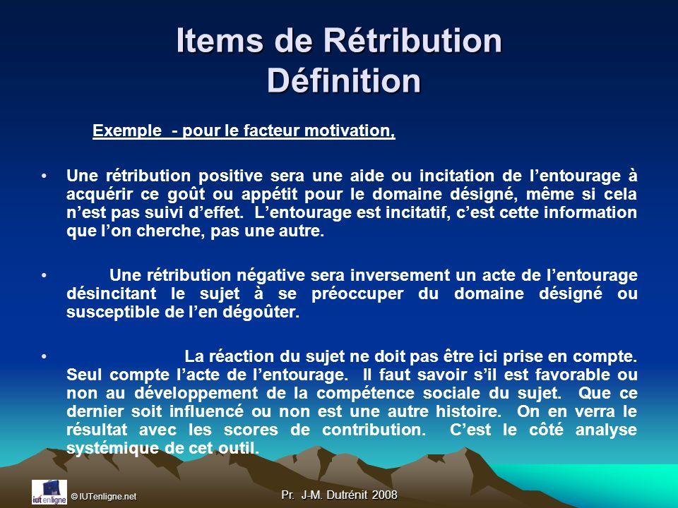 Items de Rétribution Définition