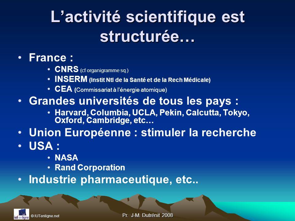 L'activité scientifique est structurée…