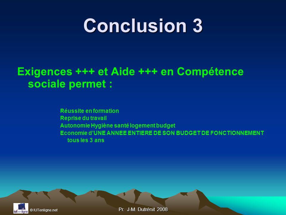 Conclusion 3 Exigences +++ et Aide +++ en Compétence sociale permet :