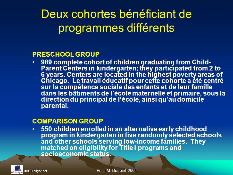 Deux cohortes bénéficiant de programmes différents
