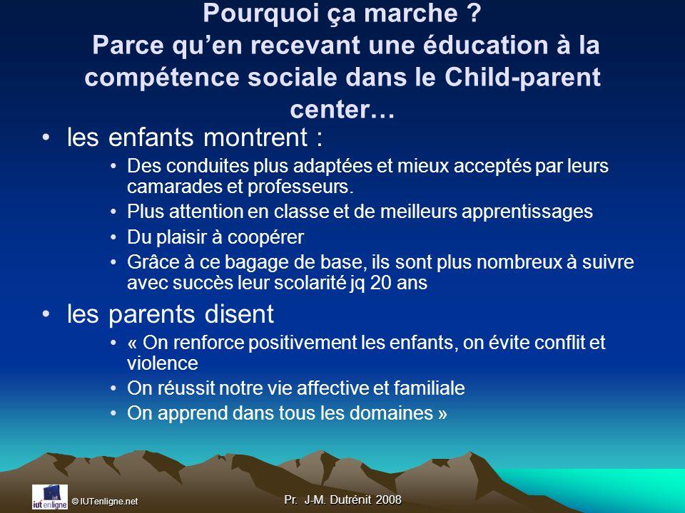 Pourquoi ça marche Parce qu'en recevant une éducation à la compétence sociale dans le Child-parent center…