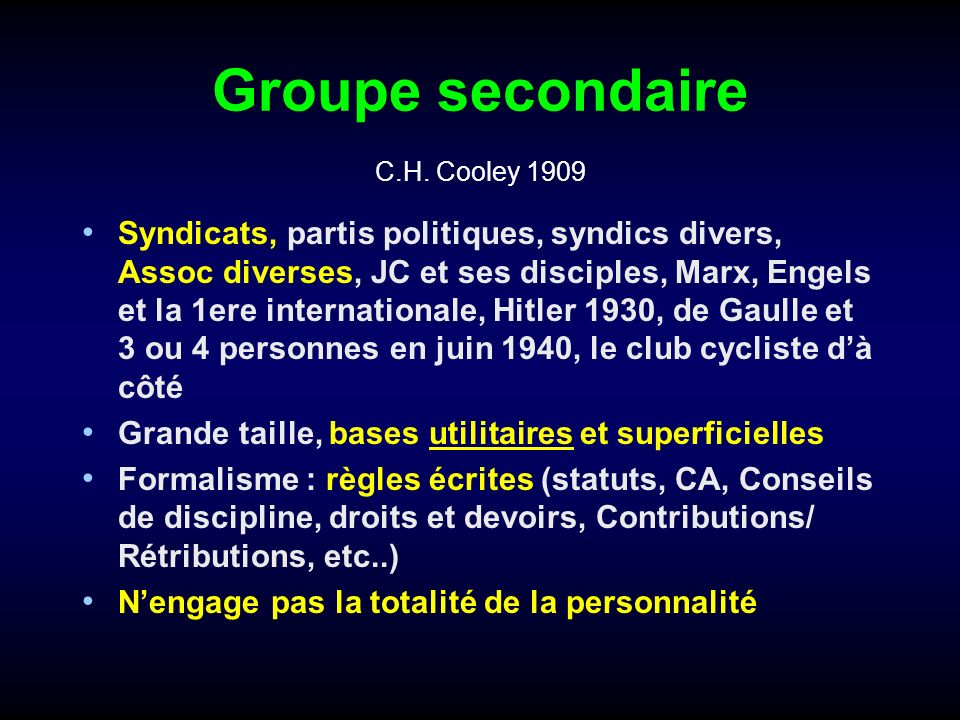 Groupe secondaire C.H. Cooley 1909